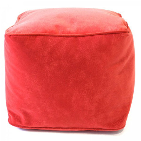 "Microsuede Ottoman (Flame) (12""H x 15""W x 15""D) - Harvey & Haley"
