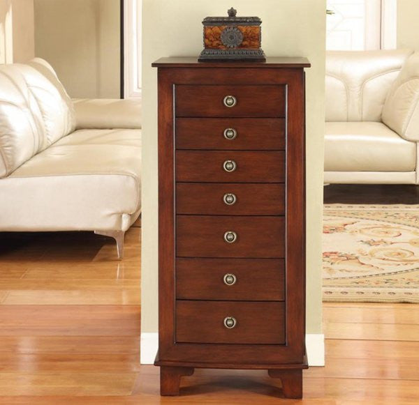 "Cayman 7 Drawer Locking Jewelry Armoire (Antique Brown) (40""H x 19""W x 13""D) - Harvey & Haley"