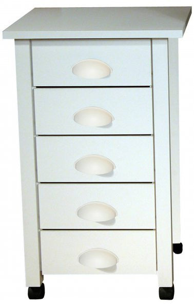 "5 Drawer Cart (White) (18"" x 18"" x 29"" H) - Harvey & Haley"