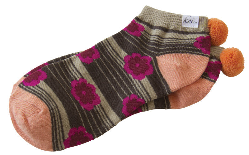 Pom Pom Socks-Flower Power