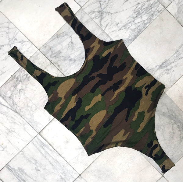 HONEY CUT BODYSUIT ARMY