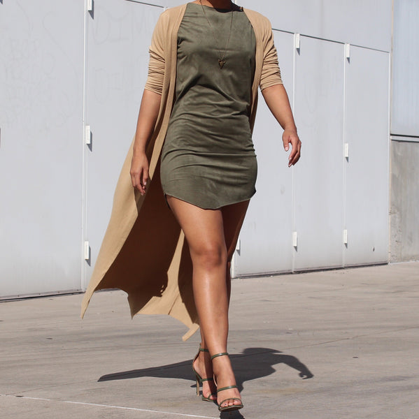 faux suede tshirt dress