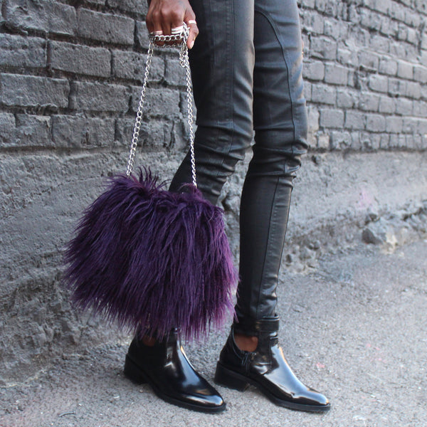 small mini purple rain faux fur clutch purse