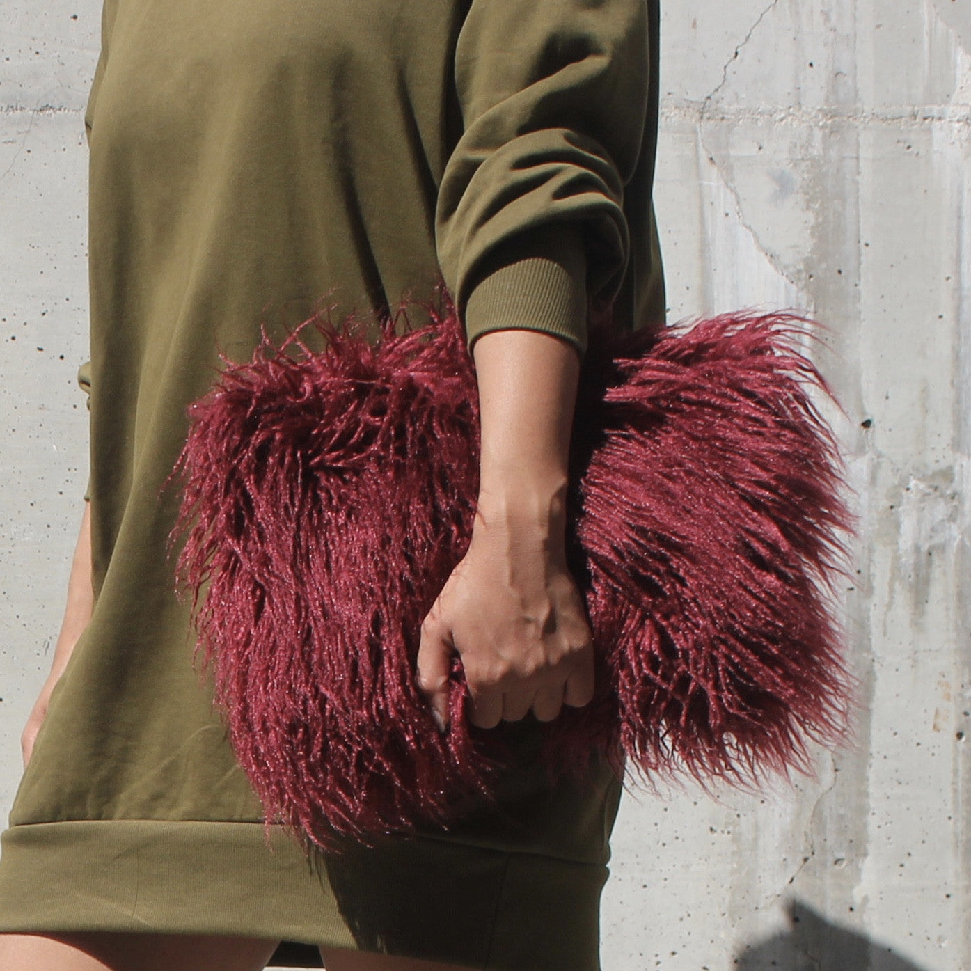 burgundy faux fur clutch purse