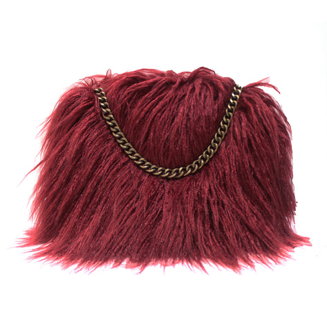 small mini burgundy true blood faux fur clutch purse