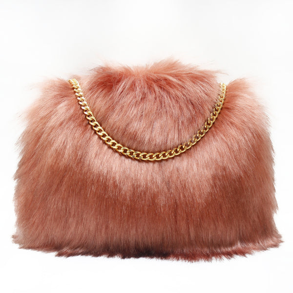 small mini blush pink salmon faux fur clutch purse