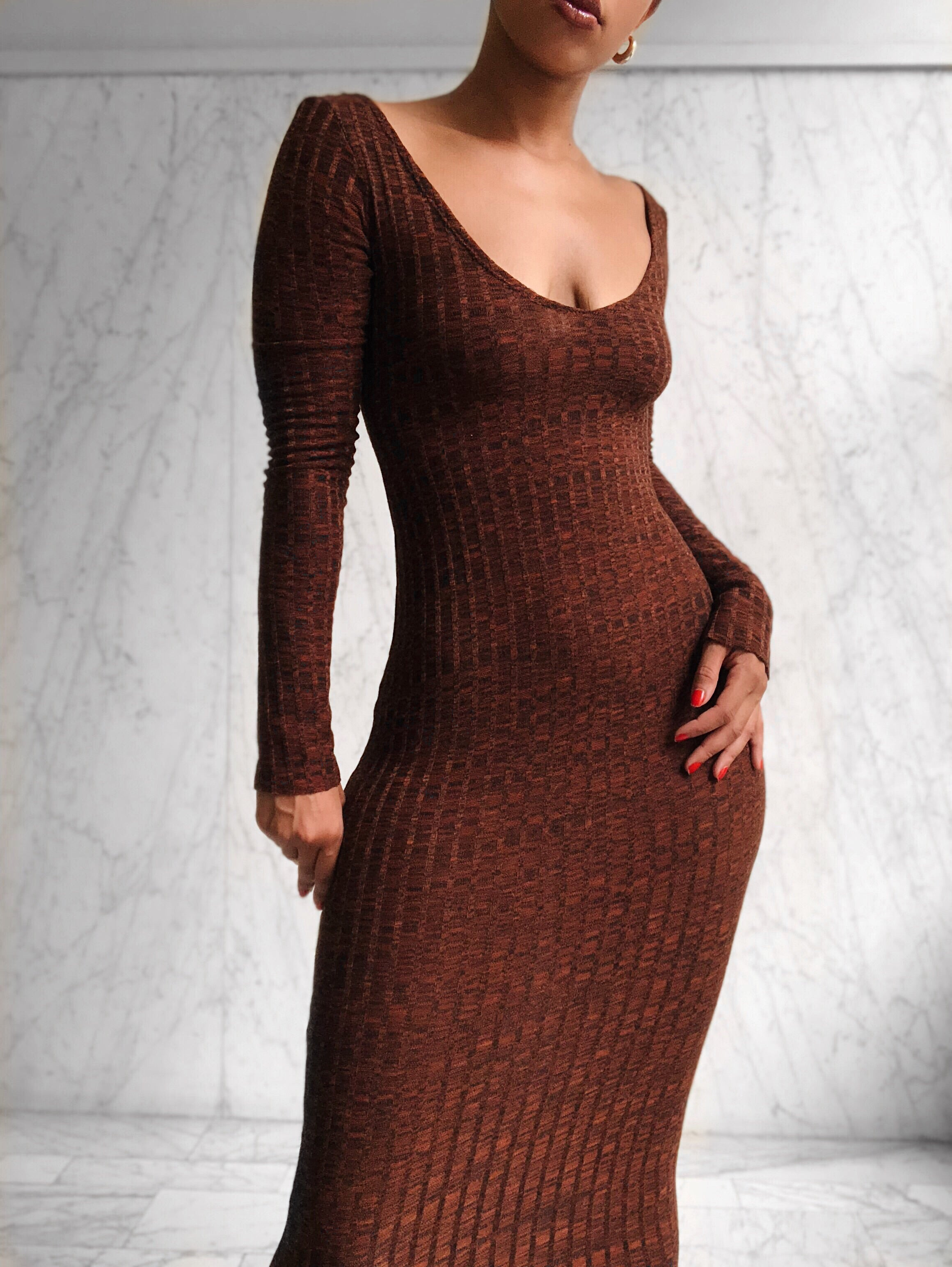 HAZELNUT SWEATER DRESS