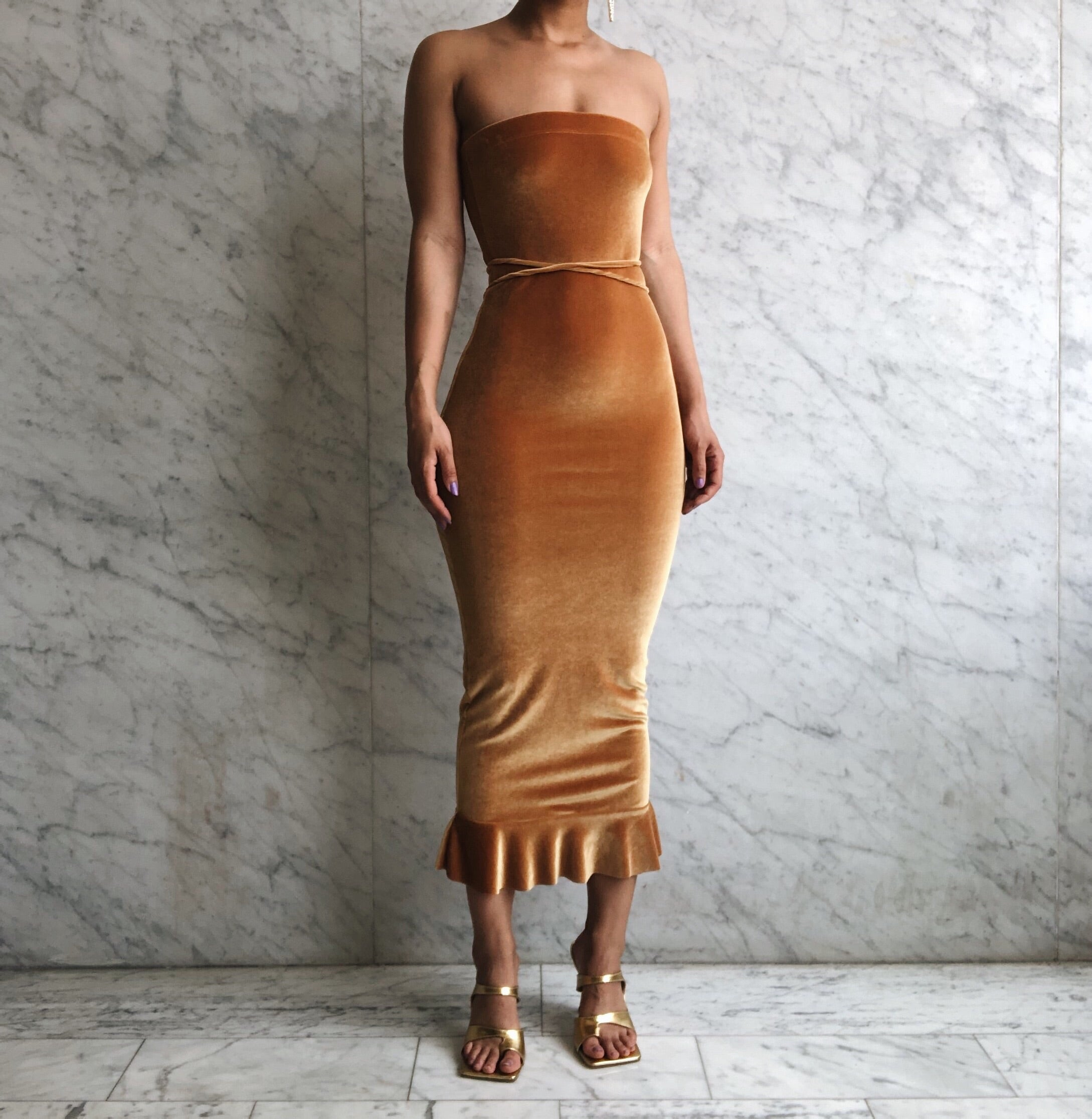 OLIVIA DRESS GOLDEN