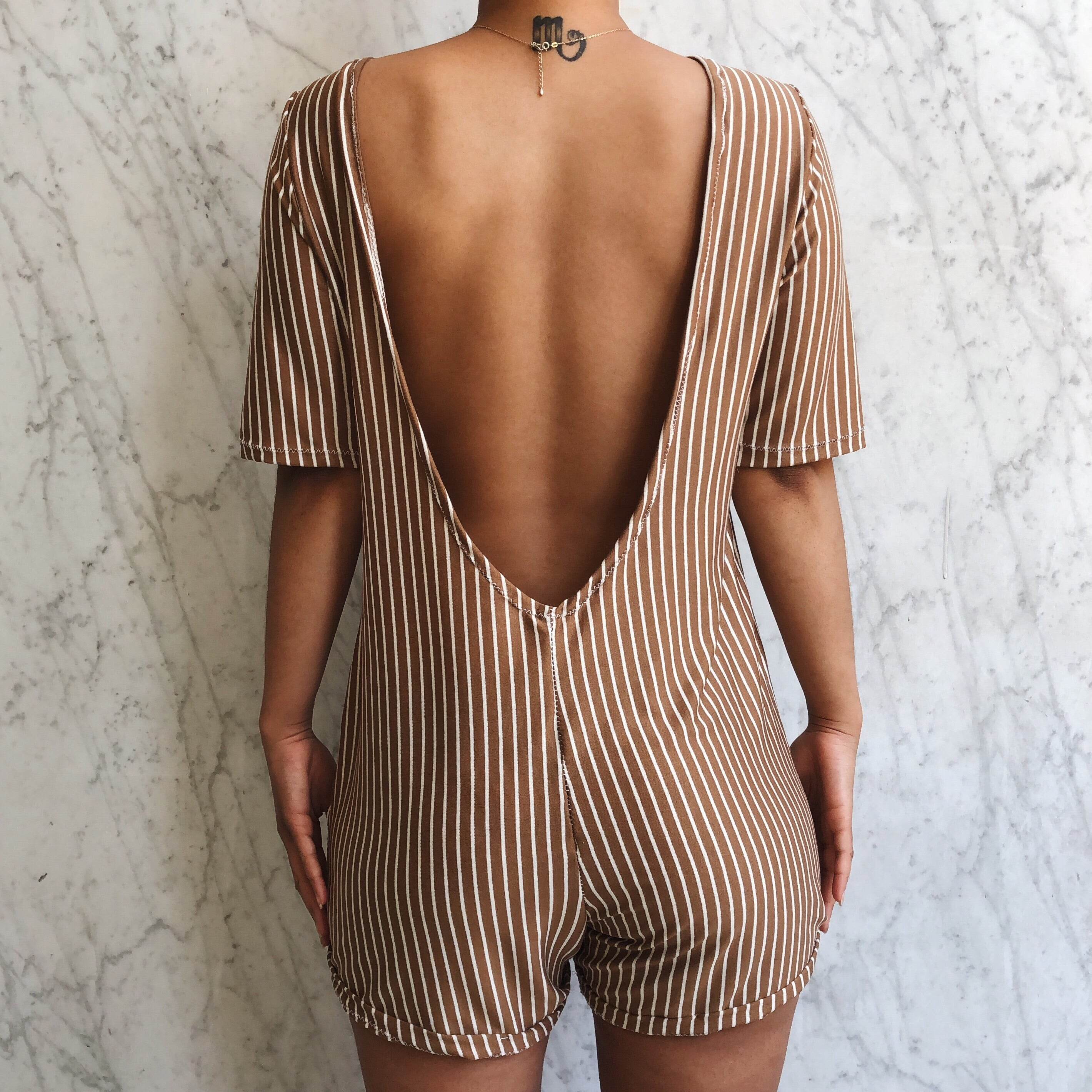 LEO ROMPER TAN STRIPE
