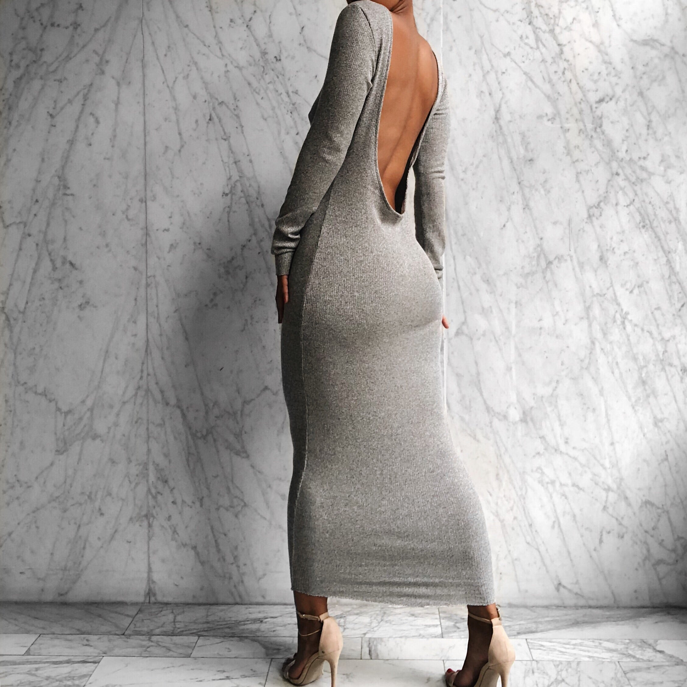 LS DANA DRESS Grey