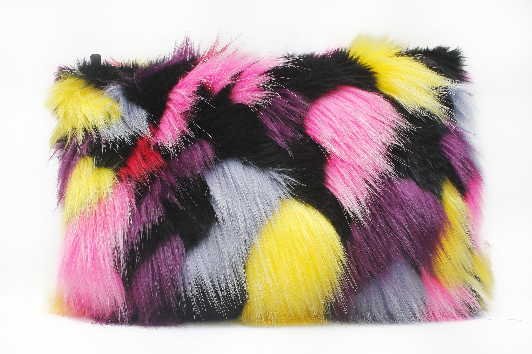 multicolored fur clutch purse