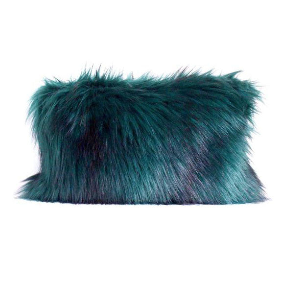 jade blue turquoise faux fur clutch purse
