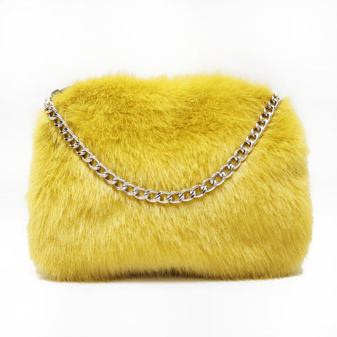 small mini yellow faux fur clutch purse