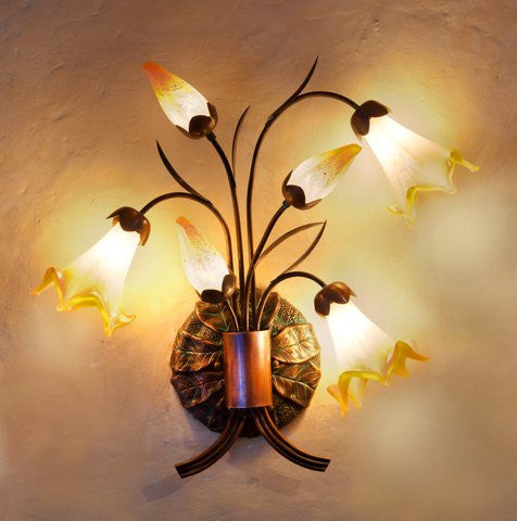 Star Lily Sconce Golden Opal