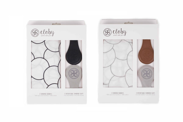 Cloby x Buggygear - Swaddle + Magnetic Leather Clips Set