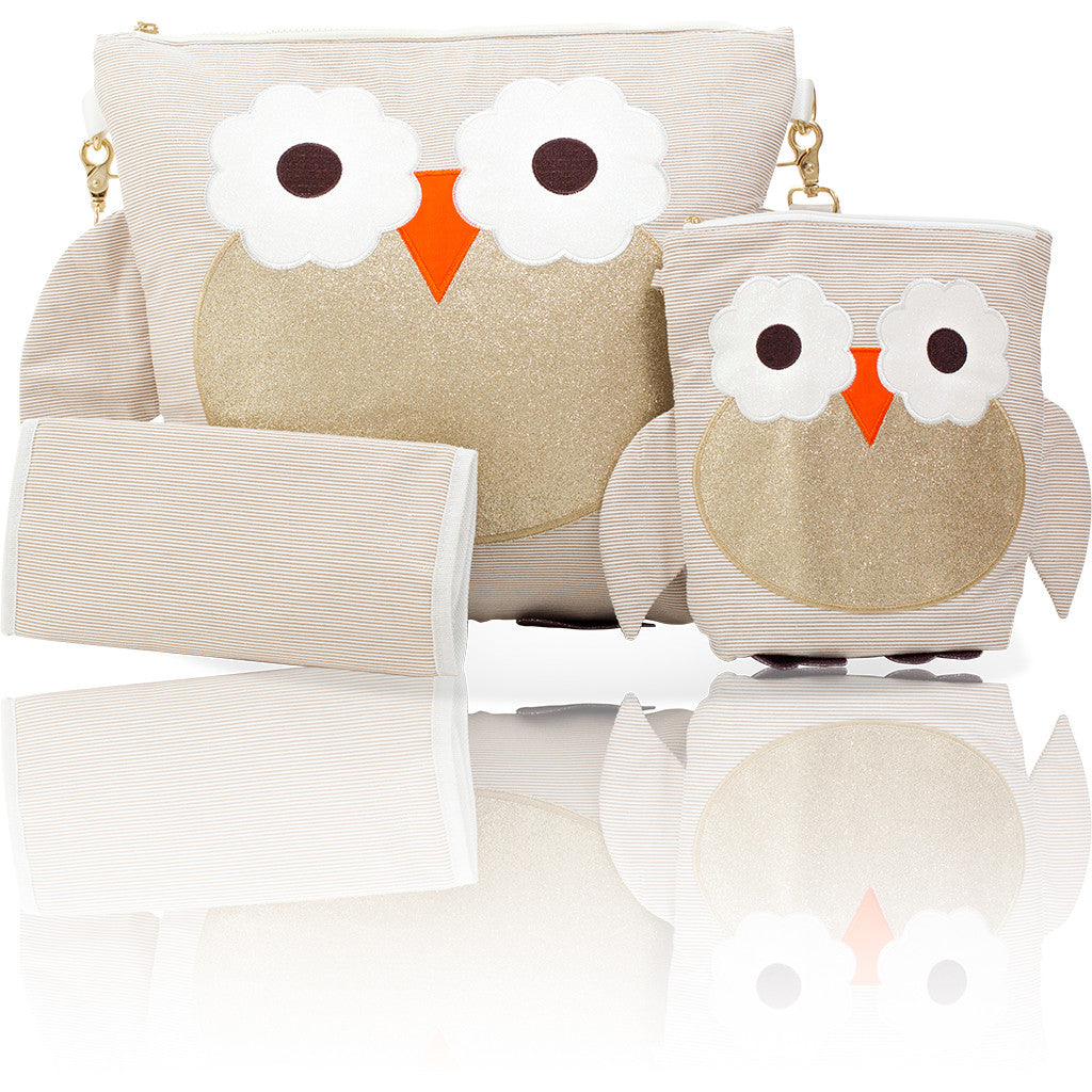 "Forever Young Convertible Mommy Bag Set - Glitter Gold Owl ""Bella"""