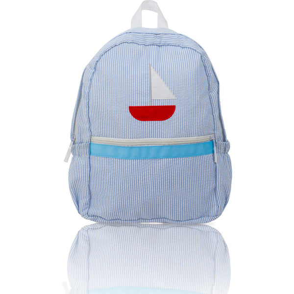 Seersucker Backpack: Seaside Collection - Baby Blue/Sailboat