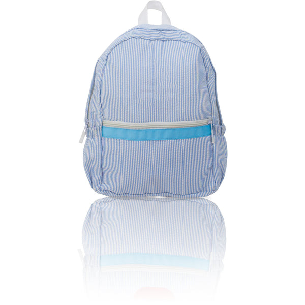 Seersucker Backpack - Baby Blue