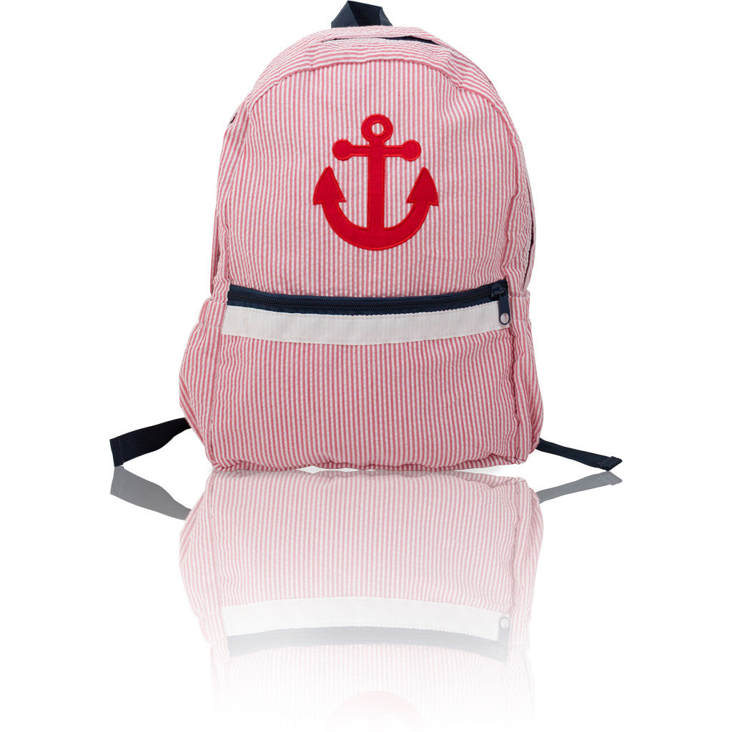 Seersucker Backpack: Seaside Collection - Red/Anchor