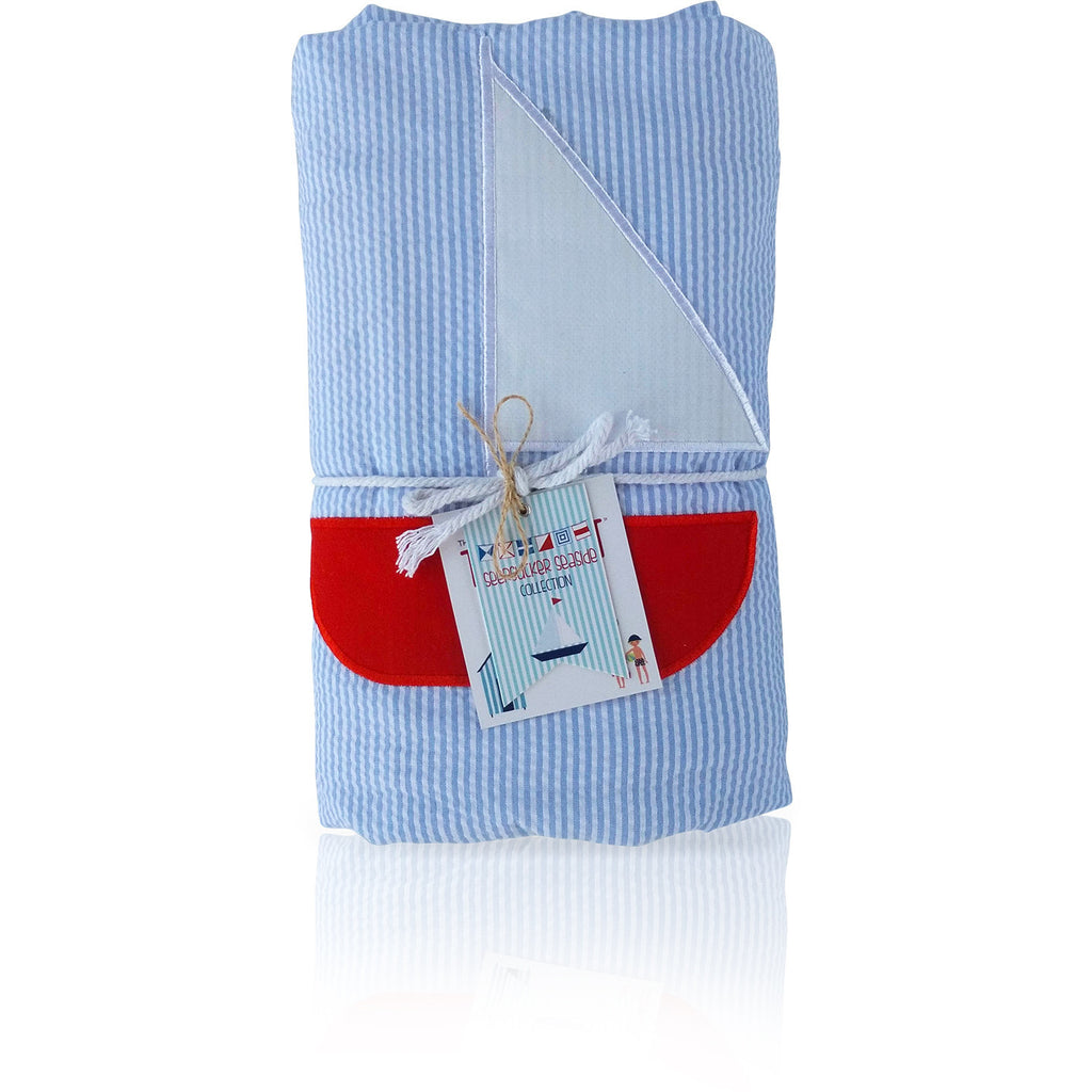 Seersucker Seaside Collection: Towel-Ket - Baby Blue/Sailboat