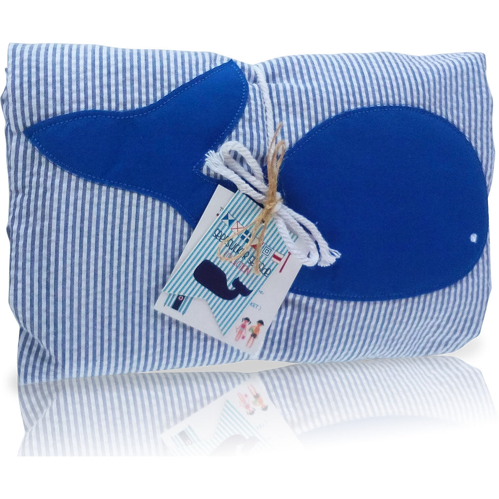 Seersucker Seaside Collection: Towel-Ket - Blue/Whale
