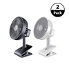 "2-Pack USB Rechargeable 10"" Air Clip On Fan Combo- Navy & White"