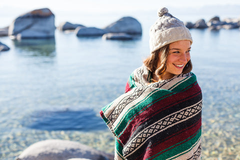 large cozy thick yoga mexican blanket