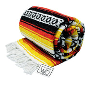 Mexican Yoga Blanket - thick heavyweight black white yellow red