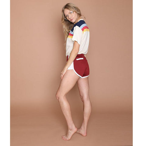 womens maroon high cut shorts