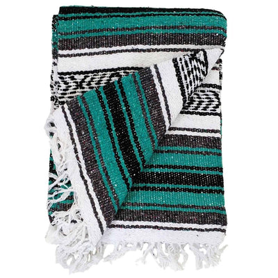 Turquoise Authentic Mexican Blanket - Falsa Throw