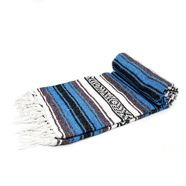 Bright Blue La Playa Mexican Falsa Yoga Blanket La Playa Blankets West Path