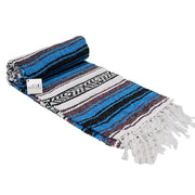 Bright Blue La Playa Mexican Falsa Yoga Blanket