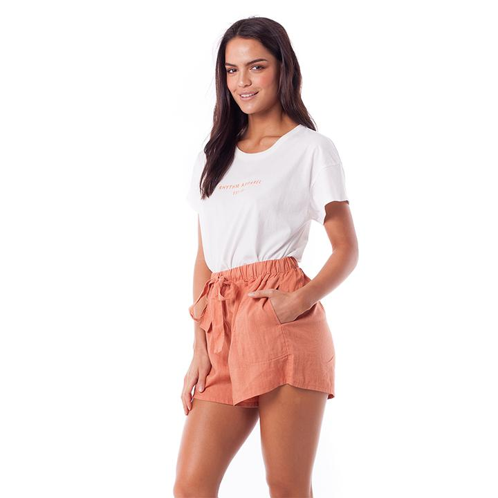 rhythm linen high waisted shorts beach leisure