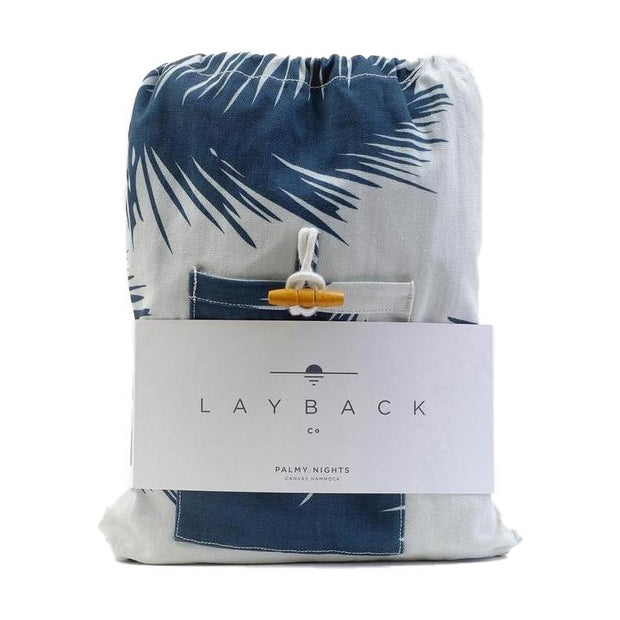 Lightweight Packable Hammock - Navy Palm Trees - Rigging Included Hammocks Layback Co.