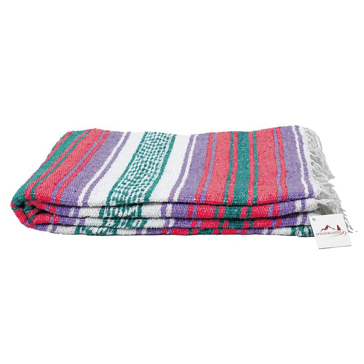 Mexican Falsa Blanket with Coral and Pastel Purple