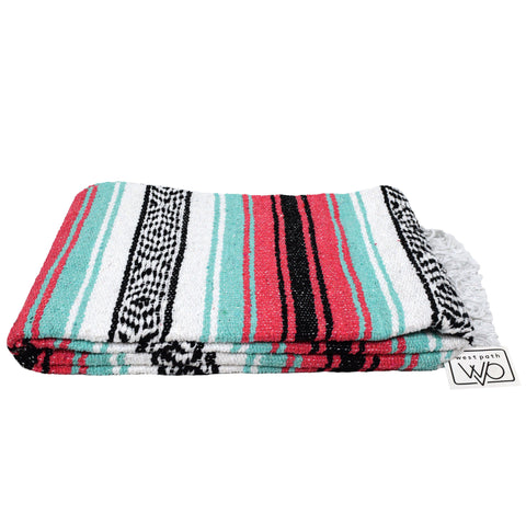 coral and mint mexican yoga blanket