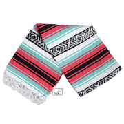 seafoam green and coral mexican falsa blanket