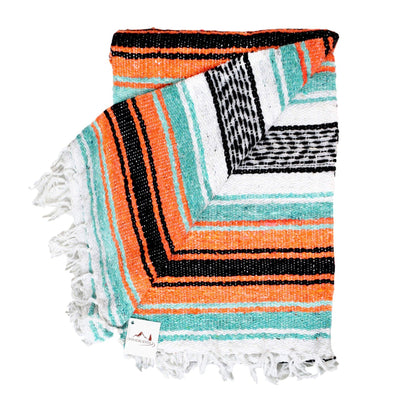 Mint and Orange La Playa Mexican Yoga Blanket La Playa Blankets West Path