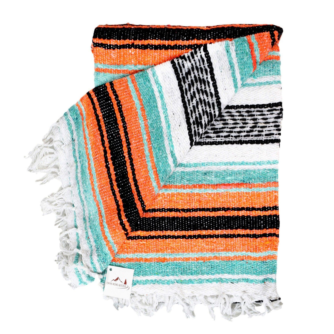 Seafoam green and Orange Mexican Blanket Perfect Outdoor Acessory
