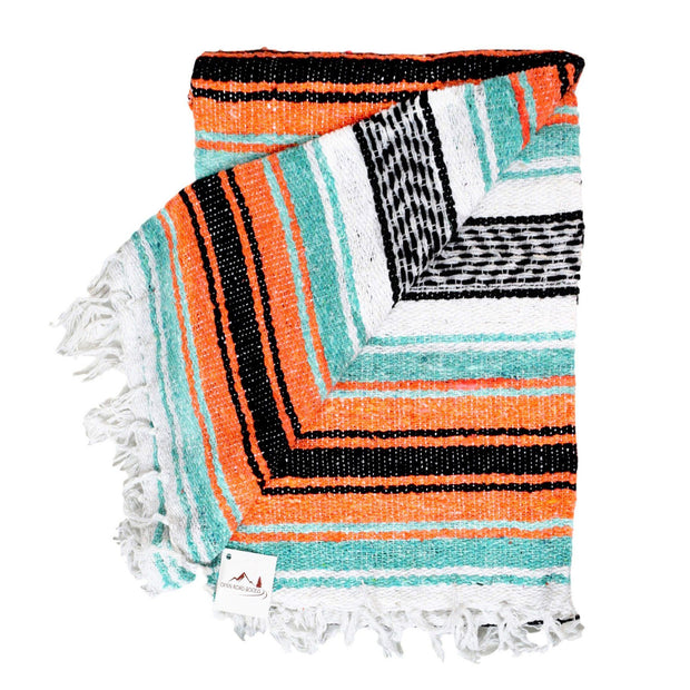 Orange and Mint Mexican Blanket