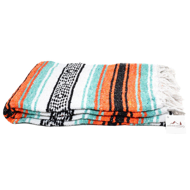 Orange and green Mexican blanket