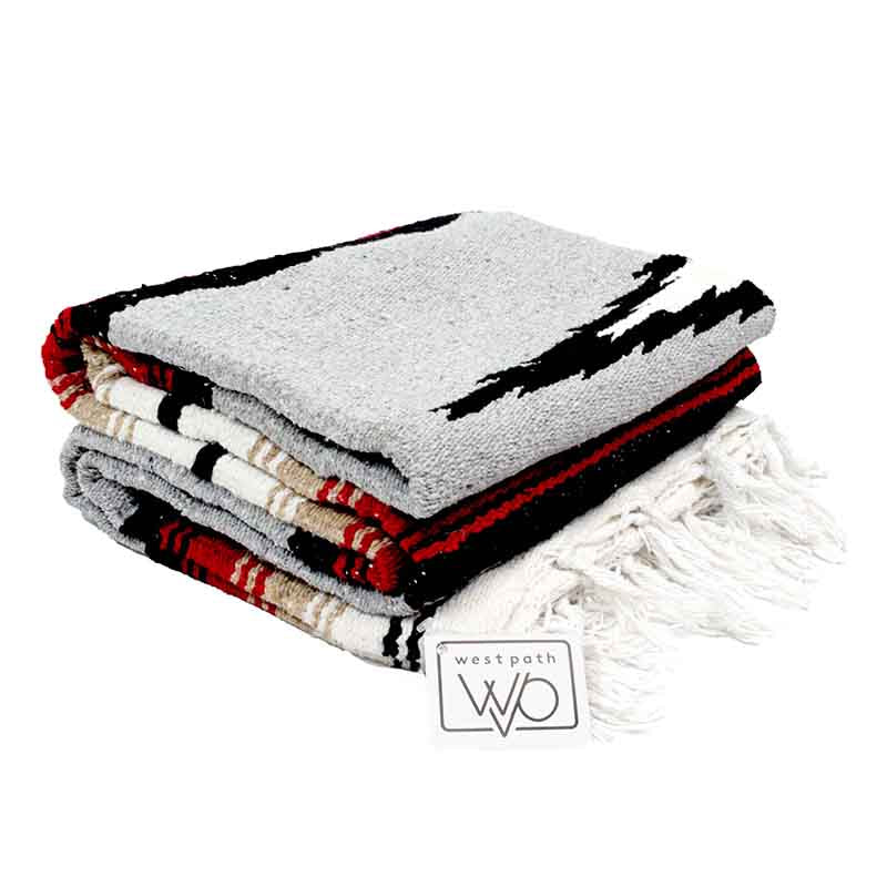 Yoga blanket - Diamond grey with red and tan stripes