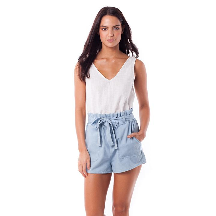 womens jean shorts cinched high waist