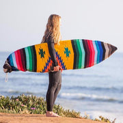 "Yellow Baja Surfboard bag features a tight thick weave adding cushion for your board during day use. The opening is constructed with a drawstring closure system for easy and quick access.  Fits surfboards up to 6'2"" long"