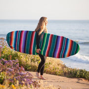 "Featuring a tighter, thinner weave this surfboard bag is lightweight and is constructed with an easy to use drawstring closure system. Perfect protection for your surfboard for light travel.  Fits surfboards up to 6'3"" long Fits surfboards up to 22"" wide."