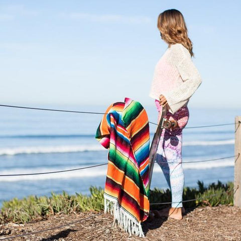 Striped Mexican Blanket Throw - Rainbow Serape Authentic Mexican Blanket