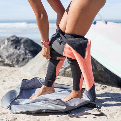 West Path Surf Changing Mat. Cushioned surface as you remove your wetsuit in comfort. Wetsuits changing bag is resistant to dirt and water and insulated from heat.