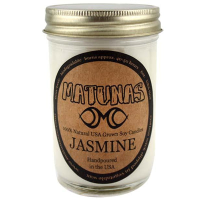 Jasmine Candle - All Natural Jelly Jar Soy Candle (8oz) Candles Matunas