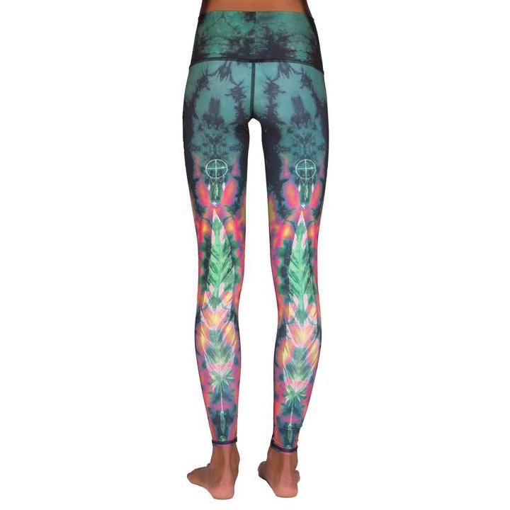 green tie dye Yoga pants
