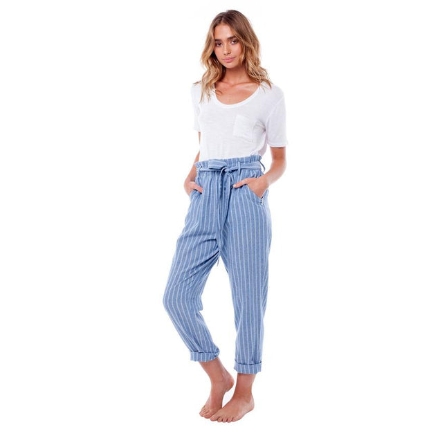 blue and white striped cotton pant